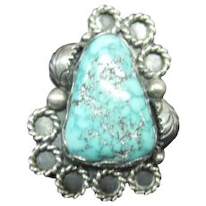 Sterling Grape Leaf Motif Ring w/Large Turquoise Natural Stone - Size 6.5