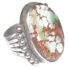 Sterling MG (Marked Malcolm) Gray Turquoise Stone Beaded Ring - Size 7