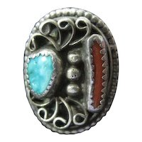 Sterling Ring w/Accent Turquoise & Corral Stones - Size 6.25