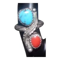 Sterling Ring w/Turquoise & Coral Stone - Size 2.5