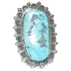 Sterling Silver Art Deco Ring w/Large Turquoise Stone - Size 9.75