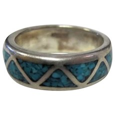 Sterling Turquoise Inlaid Band Ring - Size 7