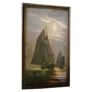 Stunning Early 1900's Ships at Night Print - Unsigned
