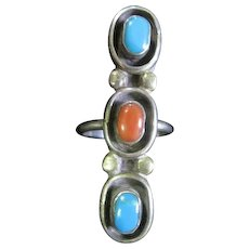 Three Stone (2) Turquoise & (1) Coral Stone Ring Set in Silver - Size 7