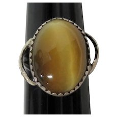 Tiger's Eye Stone Set in Silver Detailed Leaf Design Ring - Size 5.5
