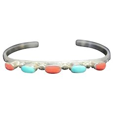 Turquoise & Coral Stoned Petite Thin Pawn Cuff Bracelet