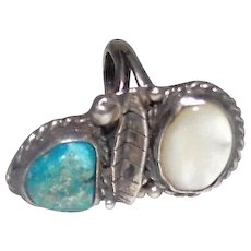 Turquoise & Mother of Pearl Stone Ring on Silver - Size 5.25