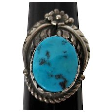 Turquoise Stone Set in Silver W/ Flower and Leaf Design Ring - Size 8.5