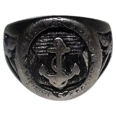 United States Maritime Service Sterling Ring - Anchor on Shield/Eagle Sides - Size 10.75