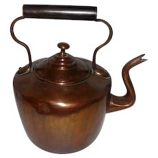 Victorian E.V.W. Hallmarked Copper Tea Kettle - Circa 1850-1900