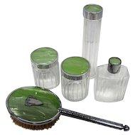 Vintage 5 Piece Vanity Art Deco Set - Glass/Green Top