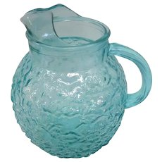 """Vintage Anchor Hocking Teal Glass Pitcher - 9"""" Tall"""