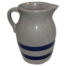 "Vintage Blue Striped Crock Stoneware Pitcher w/Handle - 8 1/4"" Tall"