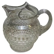 "Vintage Clear Hobnail Design Glass Pitcher w/Vertical Lined Handle - 7 3/4"" Tall"
