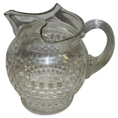 """Vintage Clear Hobnail Design Glass Pitcher w/Vertical Lined Handle - 7 3/4"""" Tall"""