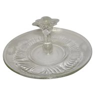 "Vintage Clear Paden City ""Spire"" Pattern Handled Sandwich Serving Tray"