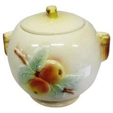 "Vintage R.R.P.Co. Roseville Cookie Jar - Apple Tree Glaze - 8"" Tall"