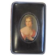 Vintage Victorian Mondaine Makeup Compact Case w/ Lady in Red Dress