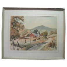 "Watercolor ""Farm with Horses"" by Frank Serratoni"