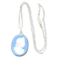 "Wedgwood Blue & White Cameo Necklace w/Chain - 16 1/4"" Long"