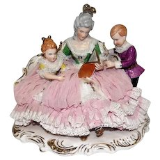 "Wilhelm Rittirsch - Dresden Art - Lace Figural Grouping Lady Reading To Children - 7 1/2"" Tall"