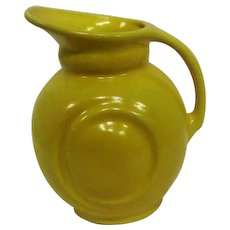 "Yellow Art Pottery Pitcher w/Handle - 6 3/4"" Tall"