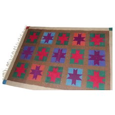 "Lot #8 Wool Hand Woven Rug - Star Design - 75"" x 49"""