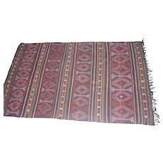 """Lot #9 1940's African Large Hair & Wool Hand Weaved Rug - 111"""" x 64 1/2"""""""