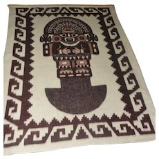 "Lot #16 Aztec Designed Wool Wall Hanging w/Wooden Rod - 86"" x 64"""