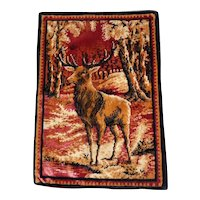 "Lot #10A - Early 1900's Tapestry of an Elk - 18 1/2"" x 13"""