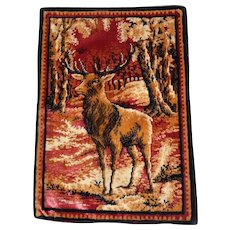 """Lot #10A - Early 1900's Tapestry of an Elk - 18 1/2"""" x 13"""""""