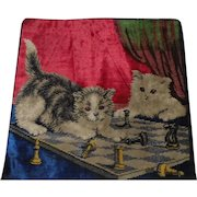 """Lot #16A - Late 1800's Embroidered Tapestry w/Cats & Chess Set Pillowcase - 18"""" x 17 1/2"""""""