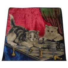 "Lot #16A - Late 1800's Embroidered Tapestry w/Cats & Chess Set Pillowcase - 18"" x 17 1/2"""