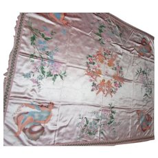 """Lot #18A - 1940's Made in Italy - Cherubs Silk Bed Spread (King) - 99"""" x 86"""""""