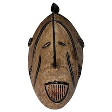 Antique Tribal African Hand Carved Congo Wooden Mask w/Bird Mohawk - Actually Worn
