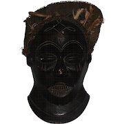 Antique - Tribal African Hand Carved Congo Wooden Mask - Worn