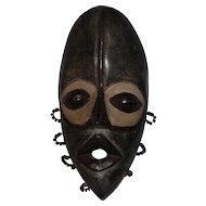 Tribal African Hand Carved Congo Wooden Mask - w/Paint & Bead Work