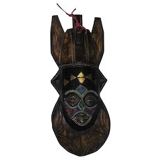 Tribal Wall Hanging - Wooden Hand Carved Mask w/Gold Paint & Glass Bead Work