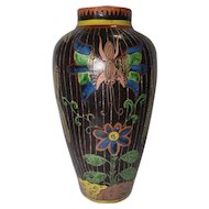 """Old Hand Painted Pottery Vase - 11 1/2"""" Tall"""