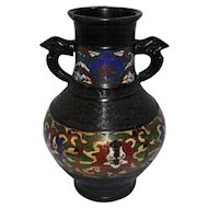 "Old Japanese Enameled Cloisonne Metalwork Vase/Urn - w/Frog or Bird Handles - 9 1/2"" Tall"