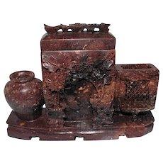 "Hand Carved Soapstone Insense Burner w/Raised Design - 6"" x 8"""