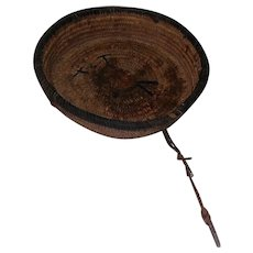 Antique Tribal African Woven Basket Bowl From Plant Fiber - w/Makers Mark