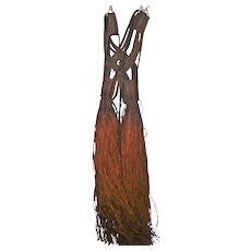 "Old Rare Tribal African Ceremonial Shoulder Dress - Leather 52"" Long"