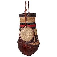 Tribal African Hand Woven Water/Milk Basket w/Lid - Leather Bottom