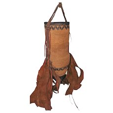 """Tribal African Water Vessel Hand Woven Basket w/Leather Design & Bottom - 21"""" Long"""