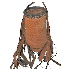 "Tribal African Water Vessel Hand Woven Basket w/Leather Design & Bottom - 20"" Long"