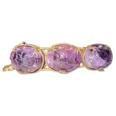 "Beautiful Sterling Dragon Designed Bracelet (3)Lavender Amethyst Stones - 7 1/4"""