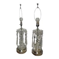 "Pair of Early 1900's Art Noveau Cut Crystal Table Lamps - 33 1/2"" Tall"