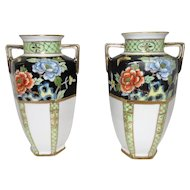 "Beautiful Pair of Nippon Hand Painted Vases w/Floral & Butterfly Design - 7 5/8"" Tall"