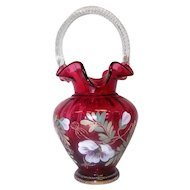 "Fenton -The Glass Legacy - Cranberry Basket w/Ruffle Edge - 95th Anniv - 10 1/4"" Tall"